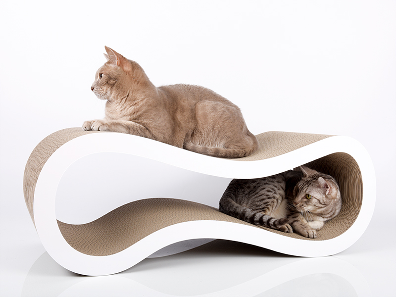 Grand griffoir design en carton ondulé pour chats cat-on Singha L