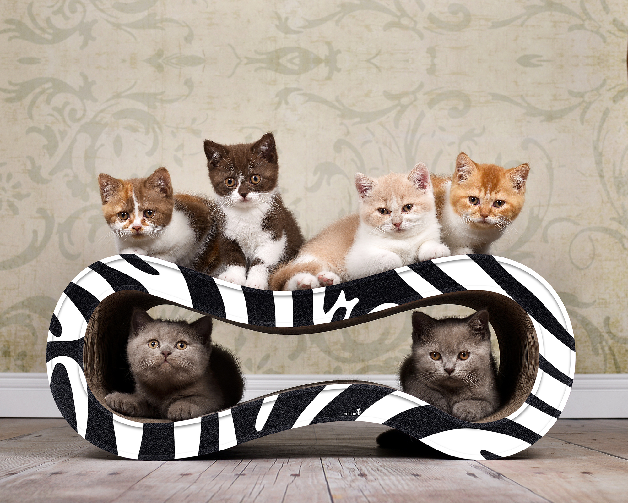 Griffoir en carton hautegamme Singha M - coloris zèbre noir et blanc