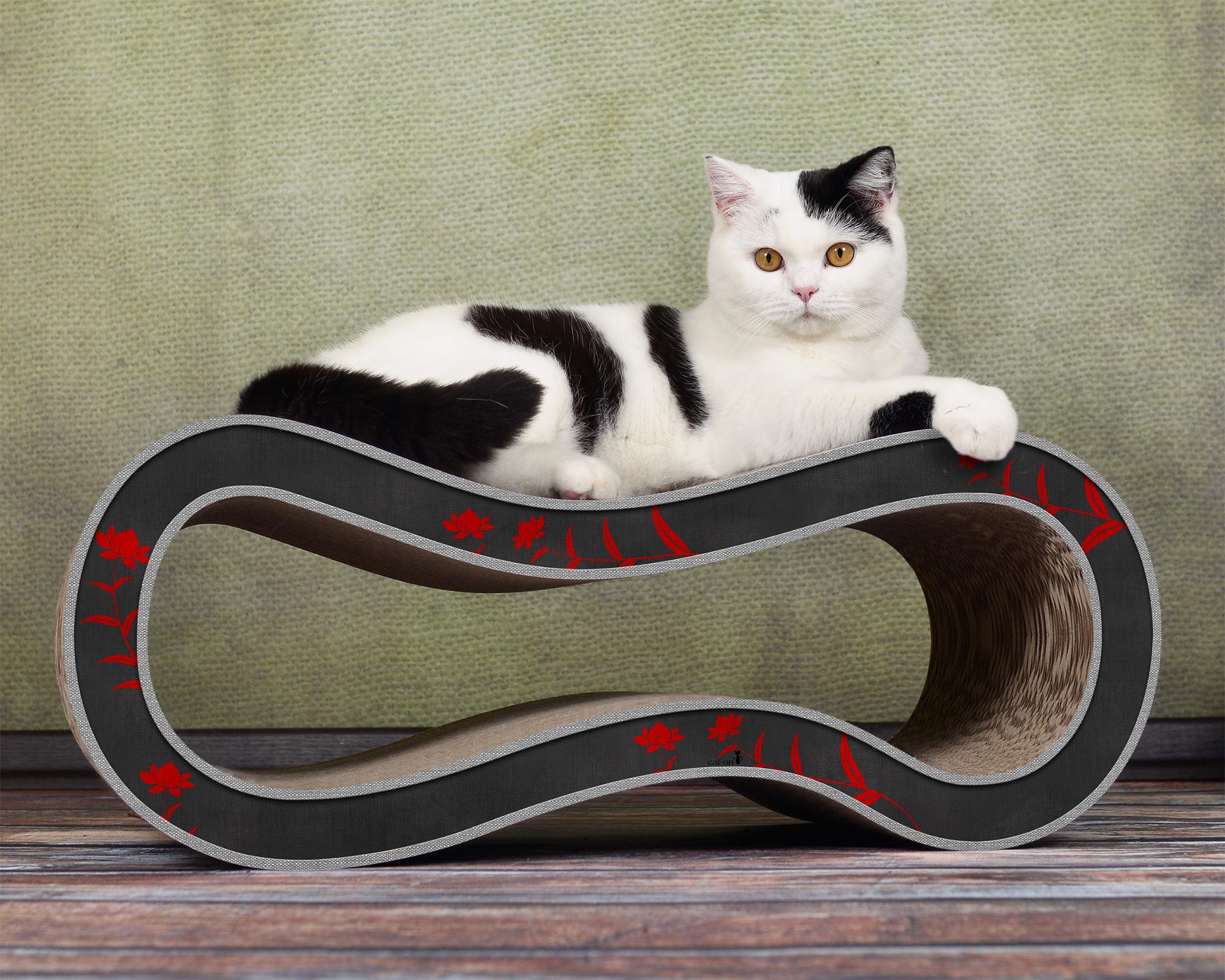 Design Kratzmöbel für Katzen Singha M in schwarz-rot 007