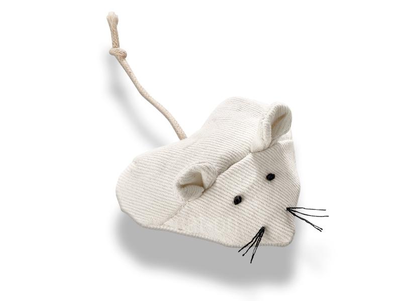 Petite souris jouet pour chat en toile de coton blanche