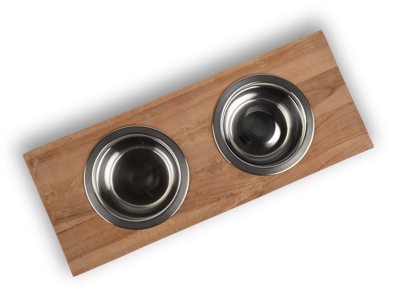 Fressnapf für Katzen aus Holz und Edelstahl